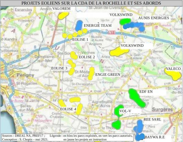 Carte projets eoliens cda lr